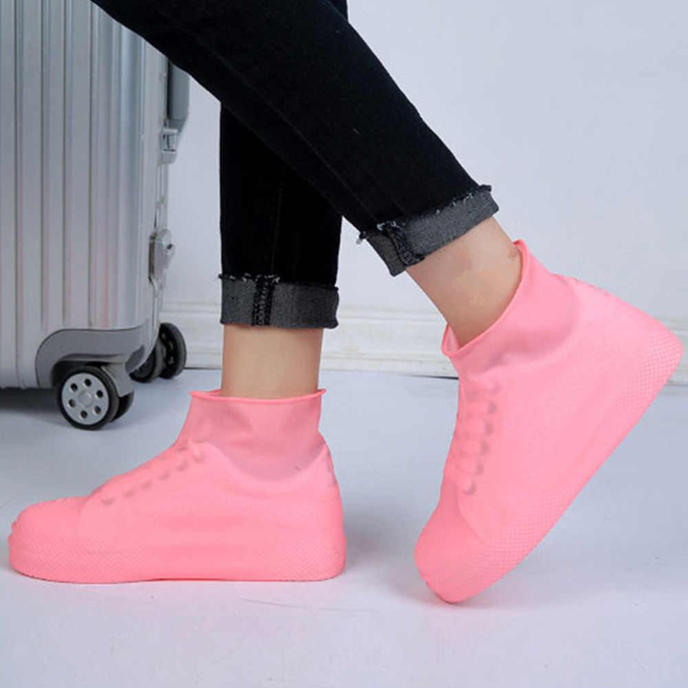 Anti-Slip Lateks Penutup Sepatu Dapat Digunakan Kembali Tahan Air Hujan Boot Overshoes Sepatu Dropshipping