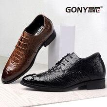 Мода черный/коричневый Поддельные Крокодил телячьей кожи платье Бизнес Tall Мужская обувь с Скрытая Вкладыши увеличивающие рост Обувь