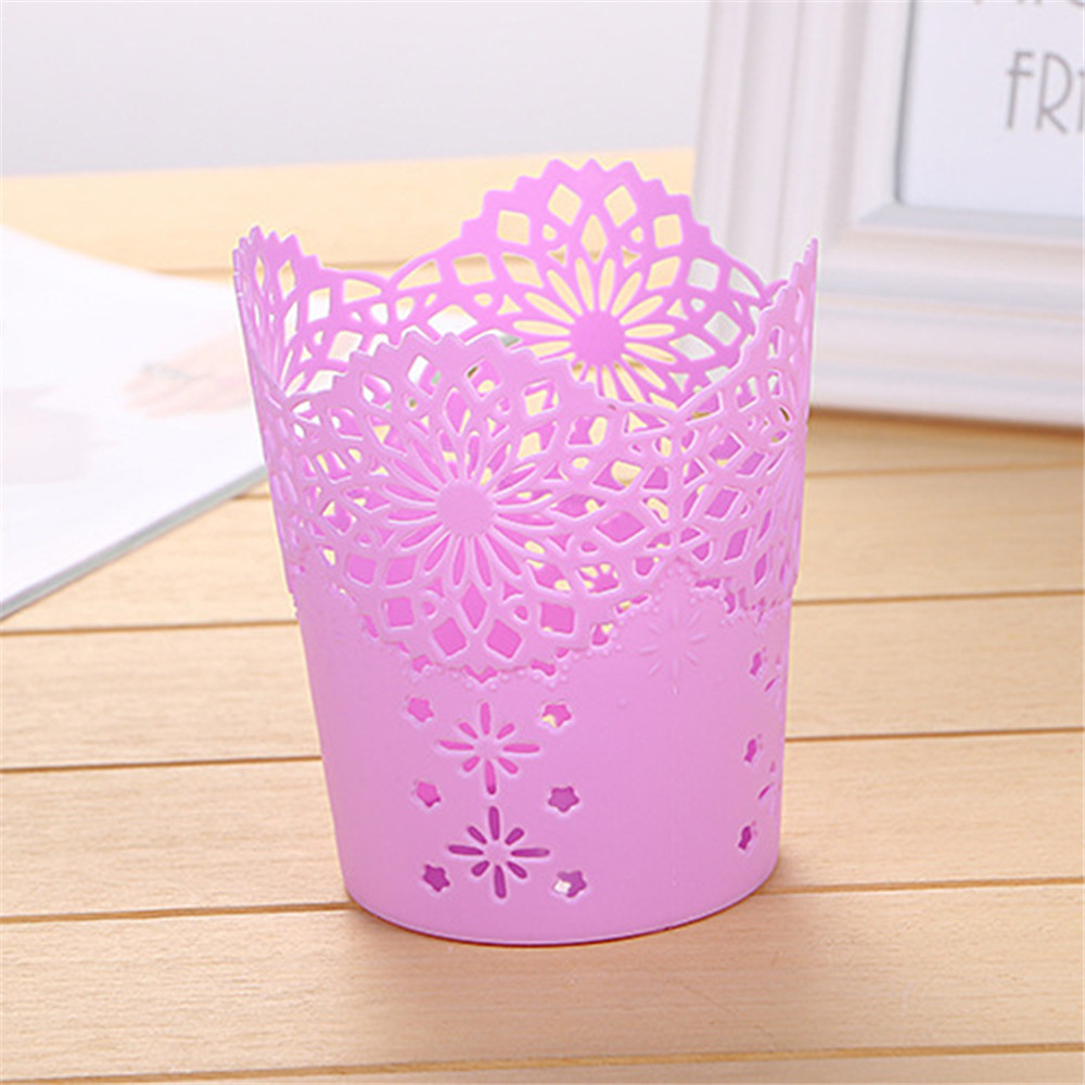 Image 2 - Openwork Pattern Pen Holder Creative Storage Bucket Small  Can Storage Basket-in Storage Baskets from Home & Garden
