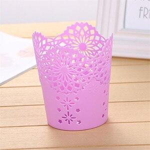 Image 2 - Soporte de bolígrafo calado creativo Cubo de almacenamiento pequeña cesta de almacenamiento