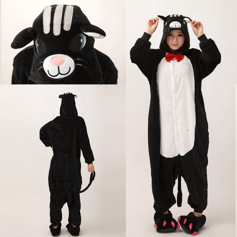 Aliexpress.com  Buy Wholesale JP Anime Pajamas Black Cat Cosplay Adult Onesie Women Men Costume ...