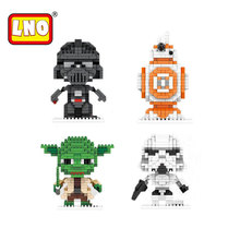 LNO Nano Blocks Hot Säljande Vader Mästare Yoda Star Wars Anime Åtgärd Siffror Handleksaker Micro Brick Educational Toy To Children