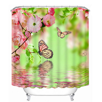 New 3D Shower Curtains Cartoon Colored Butterfly Pattern Bathroom Curtain Waterproof Washable Bath Curtain Bathroom Products