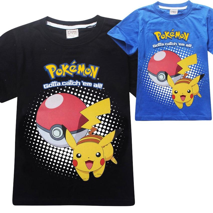 3-8Years Boys Summer 2017 Pokemon Shirt Kids Clothes Girls T-shirt Short Sleeves Tshirt Kids Clothes Cartoon Printing 8256