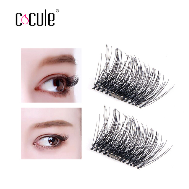 247458ad160 Cocute Easy Wear 2 Pairs 3D Magnetic Eyelash False Eyelashes Magnet Full  Strip Magnetic Lashes Soft Hair Reusable Fake Eye Lash