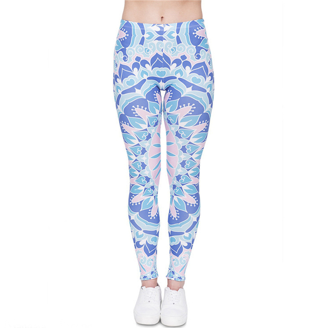 Women Girls  Mandala Printed Leggins Funny Slim High Waist Blue Streched  Female Pants 318a2abd175