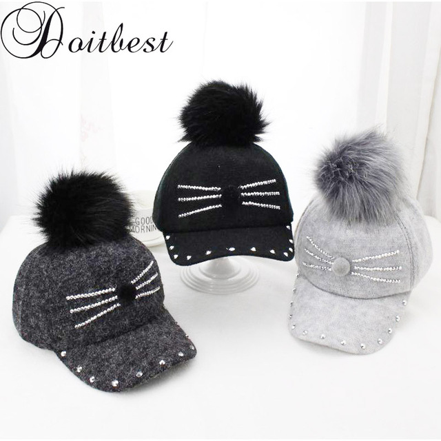 ebce3a301ac Doitbest 2-8 Y Winter Hats   Caps for Children kid Fur Ball Pompoms boy  girl Warm Cap Winter Rhinestone little cat Baseball caps