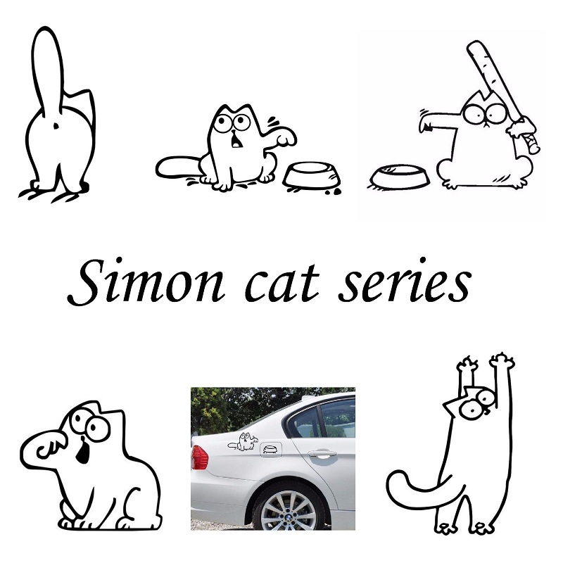 Cartoon Fuel Cap Car Sticker Funny Hungry SIMONS CAT Sticker for Lada Granta Largus Kalina 4*4 Priora 2110 2109 110 car-styling ceyes car styling 1pc mat interior auto accessories case for lada kalina granta priora lada niva largus samara 2110 car styling