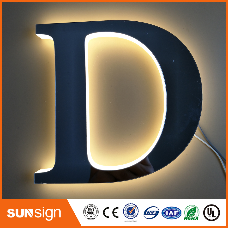 Outdoor advertising halo lit 3d metal sign letters Customized acrylic led backlit signageOutdoor advertising halo lit 3d metal sign letters Customized acrylic led backlit signage