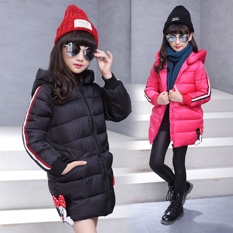 3 10T girls winter jacket cotton padded medium long outerwear coat hooded thicken girl winter coat