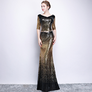 Image 2 - New arrival sequines black floor length v neck lady girl women princess bridesmaid banquet party ball dress gown