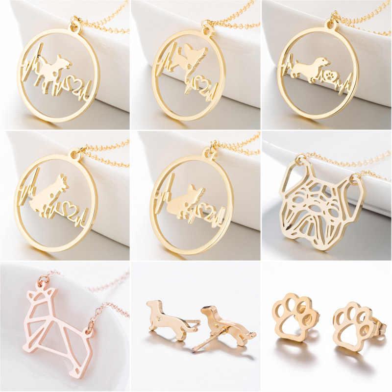 SMJEL Нержавеющаясталь ожерелье для домашних животных, собаки новая мода кулон в форме собачьей лапы Цепочки и ожерелья для Для женщин ювелирное изделие в виде сердца, ЭКГ подарок для врача дропшиппинг