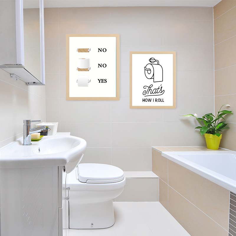 Fun Quirky Toilet Paper Instructions Wall Art Painting Minimalist