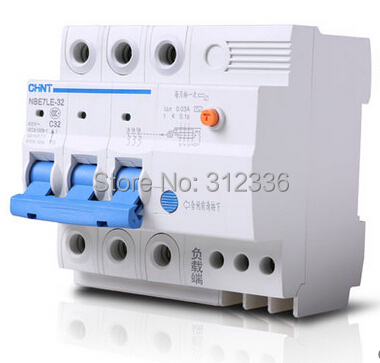 Free Shipping Two years Warranty LE C32 3P 32A 3 pole earth leakage ELCB RCD residual current circuit-breaker earth leakage 400a 3p 220v ns moulded case circuit breaker