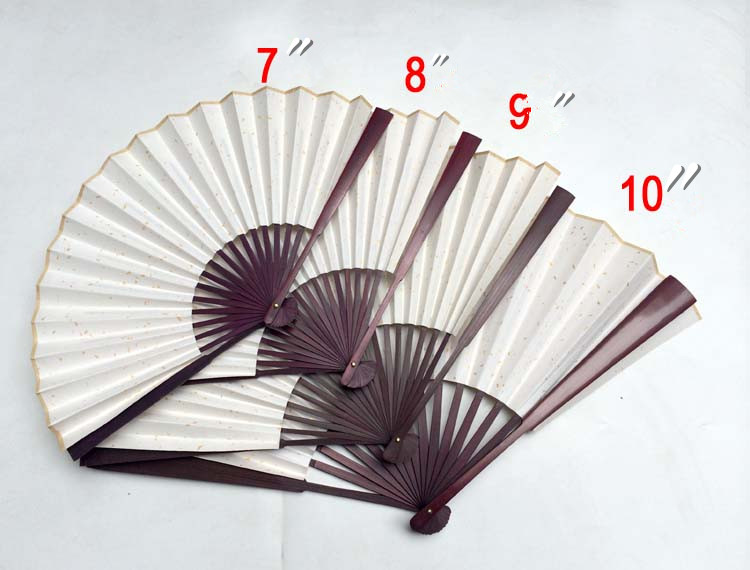 DIY White Hand Fans Rice Paper Chinese Folding Fan Painting Adult Calligrapher Fine Art Program Big Bamboo Fan 7
