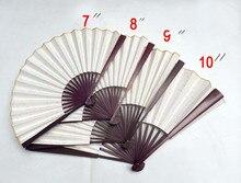 DIY Blank White Foldable Silk Hand Fans Women Wedding Favor Gifts  10pcs/lot Free shipping