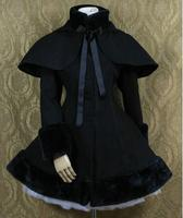 Lolita Lutz & Patmos Lovely hooded cape Uniform Cosplay Black Coat Costume Any Size NEW