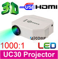 Big discount ATCO UC30 1080P HD Home Theater 3D Cinema HDMI USB Video Game LED Mini Projector beamer lcd projectors Projektor