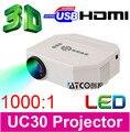 Descuento grande ATCO UC30 1080 P HD de Cine En Casa Cine En 3D Juego de Video LED Mini Proyector Proyector HDMI USB lcd proyectores Projektor