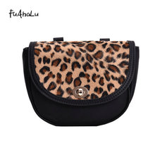 FuAhaLu Womens bag desig retro Vintage leopard print Messenger shoulder fashion saddle handbag