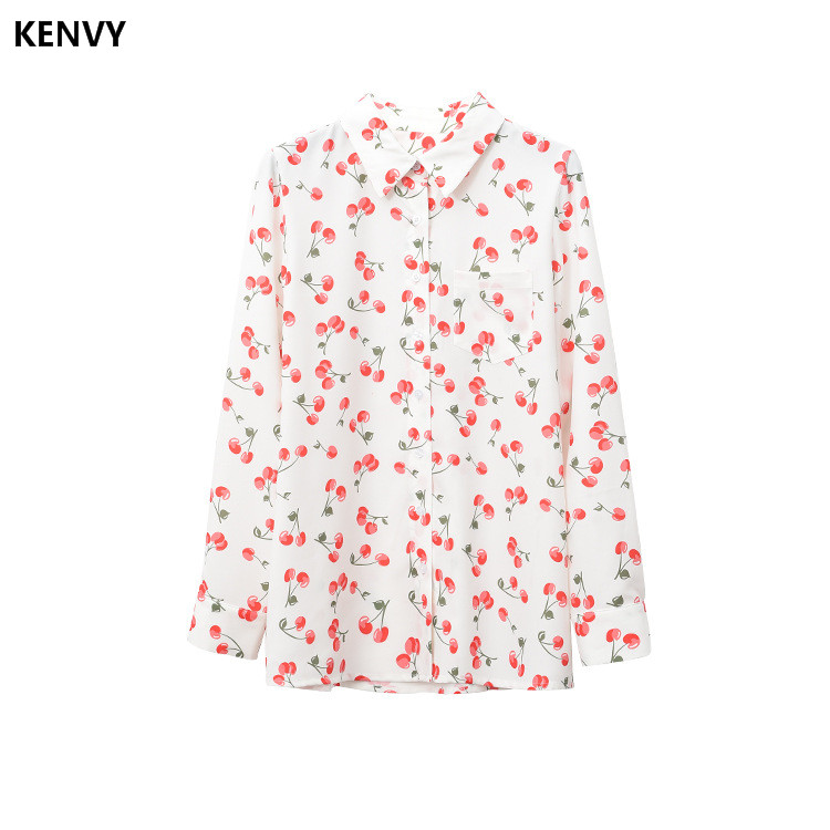 end Printed Long Shirts Top Brand High Women's Fashion Luxury sleeved Shirt Kenvy YI6qw