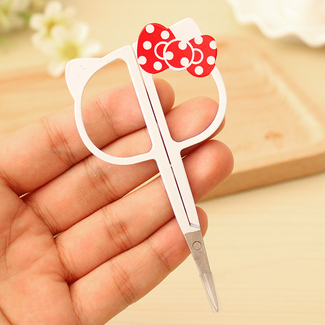 Kawaii Hello Kitty Eyebrow Trimmer Razor Eyebrow Scissors Knives Beauty Makeup Nose Hair Scissors Threading Scissors G27
