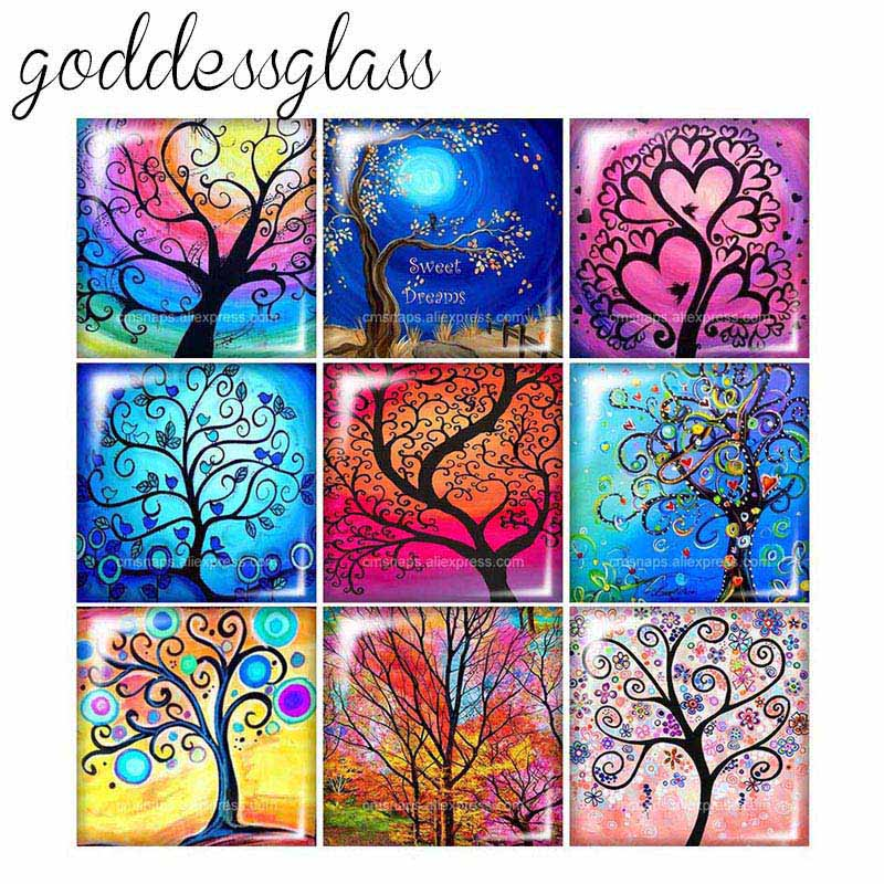 Beauty Life Tree Colorful Painting Tree  12mm/20mm/25mm/30mm Square Photo Glass Cabochon Demo Flat Back Making Findings FB0102