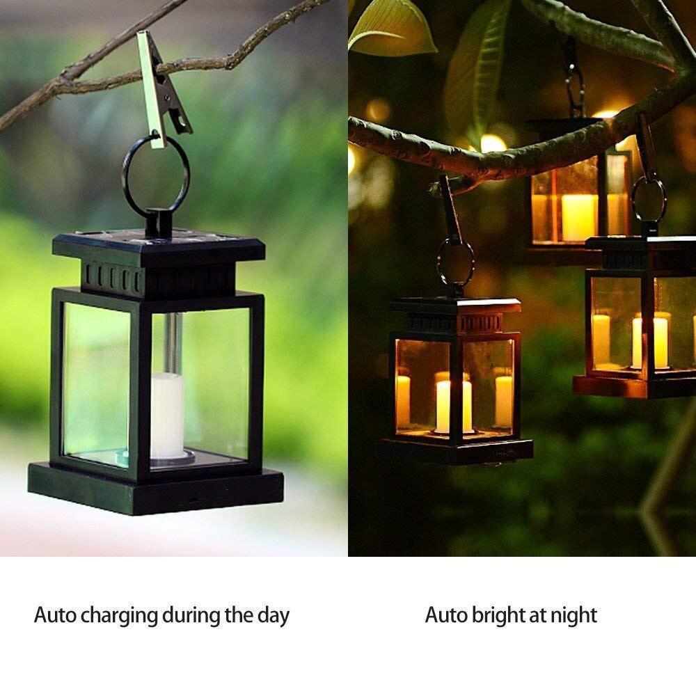 Outdoor Hanging Tree Lights: Solar Lantern Hanging LED Candle Twinkle Light Festival