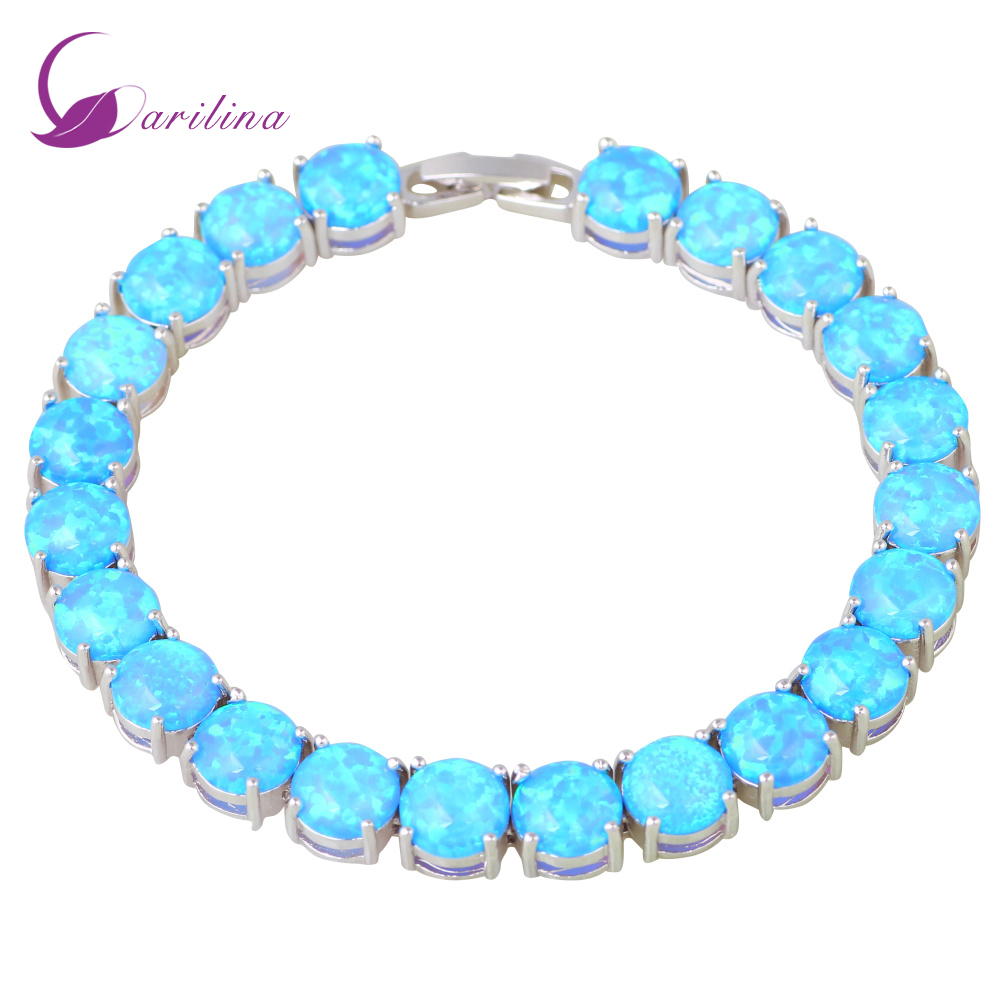 Glam Luxe Mysterious Silver 925 Blue Fire Opal Bracelets Bangles For Teen Girls Pulseiras Femininas Jewelery Woman Wedding B467