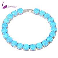 Glam Luxe Mysterious Silver Blue Fire Opal Bracelets bangles for teen girls pulseiras femininas 19.5cm 7.67 inch B467