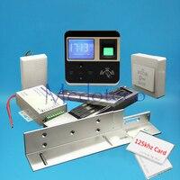 フル指紋木材金属ドアアクセスコントロールシステムキットemカードアクセスコントローラ+ 600lbs磁気ロック+ zlブラケッ