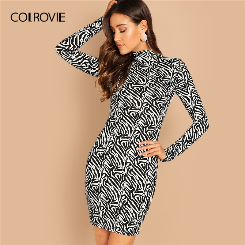 e4d9d20899f COLROVIE Black and White Mock Neck Casual Bodycon Dress Women 2019 Spring Long  Sleeve Korean Mini Dress Office Ladies Dress-in Dresses from Women s  Clothing ...