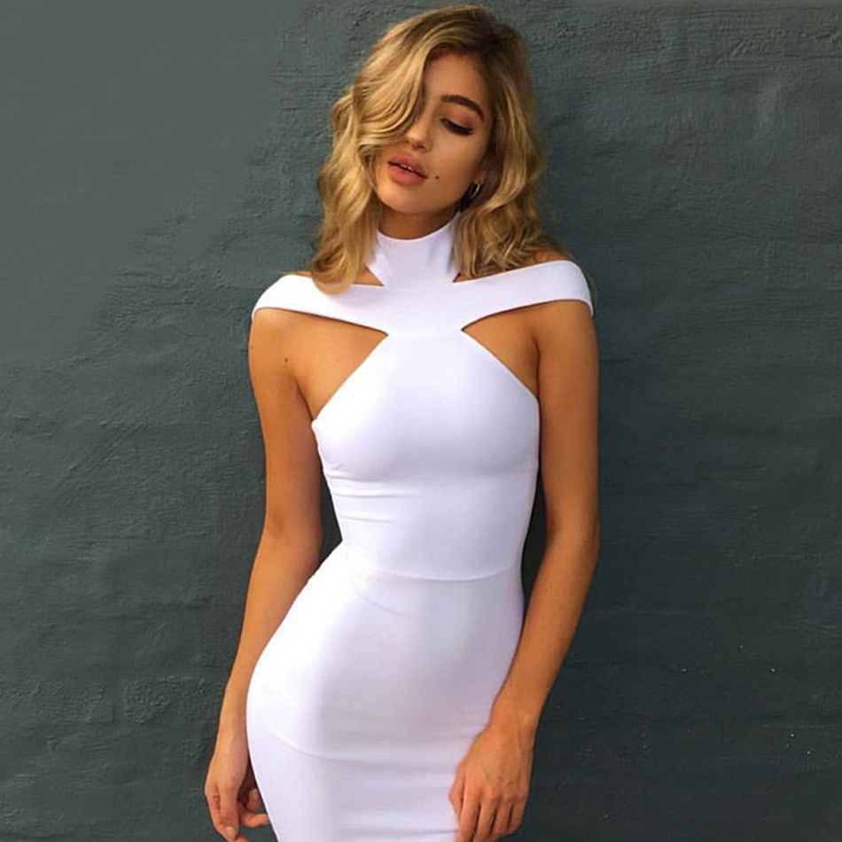 ADYCE New Bandage Dress Kvinnor 2018 Celebrity Evening Party Dress Vestidos Sexig Off Shoulder Halter Vit Khaki Black Club Dress