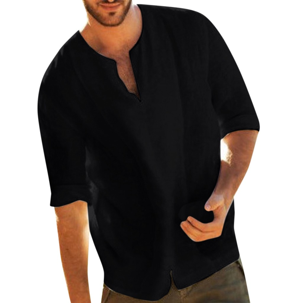 Womail Men's Baggy Summer Fashion Solid Cotton Linen Blouse  3/4 Sleevev Neck Shirts For Men Tops Blouses 2019 Casual Loose