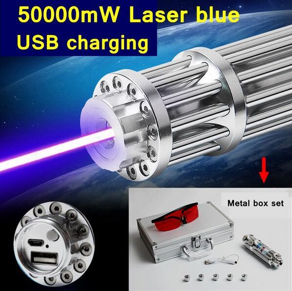 2017 Style 017-USB 50000 m haute brûler l'allumette Bleu Laser stylo pointeur laser USB de charge boîte En Métal ensemble inclure le motif caps