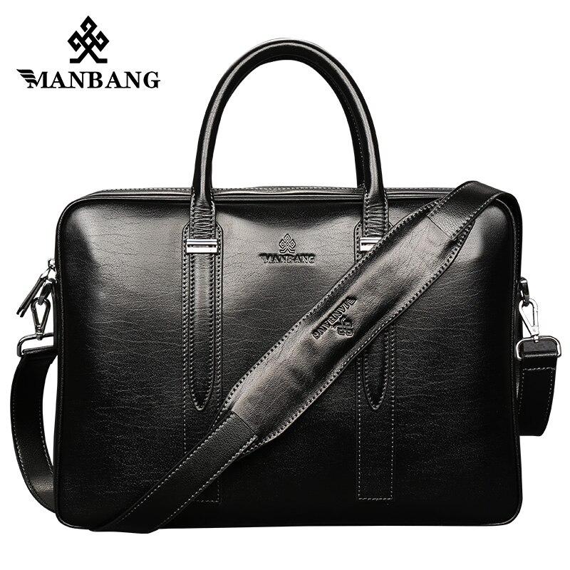 ManBang Men Casual Briefcase Business Shoulder Genuine leather Messenger Bags Computer Laptop Handbag Men's Travel Bags handbags