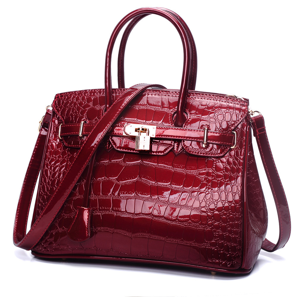 New Fashion Alligator Women Handbag High Quality Lady Shoulder Bags Patent Leather Female Girl Luxury Brand Design Crossbody Bag barhee new stone pattern pu leather women messenger bag crossbody shoulder bags for girls luxury design alligator handbag female