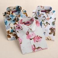 Dioufond Women Cotton Linen Blouses Summer Long Sleeve Shirt Turn-down Collar Shirts Floral Blouse 2017 Women Tops And Blouses