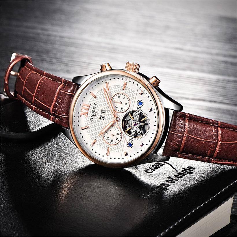 Binssaw Topmærke Luksus Mekaniske Armbåndsure til Mænd Natural Cow - Mænds ure - Foto 5