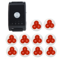 1pcs Wireless Pager Watch Calling Receiver+10pcs Call Button Pager System For Hospital Waiter Pager Restaurant Equipment 433MHz