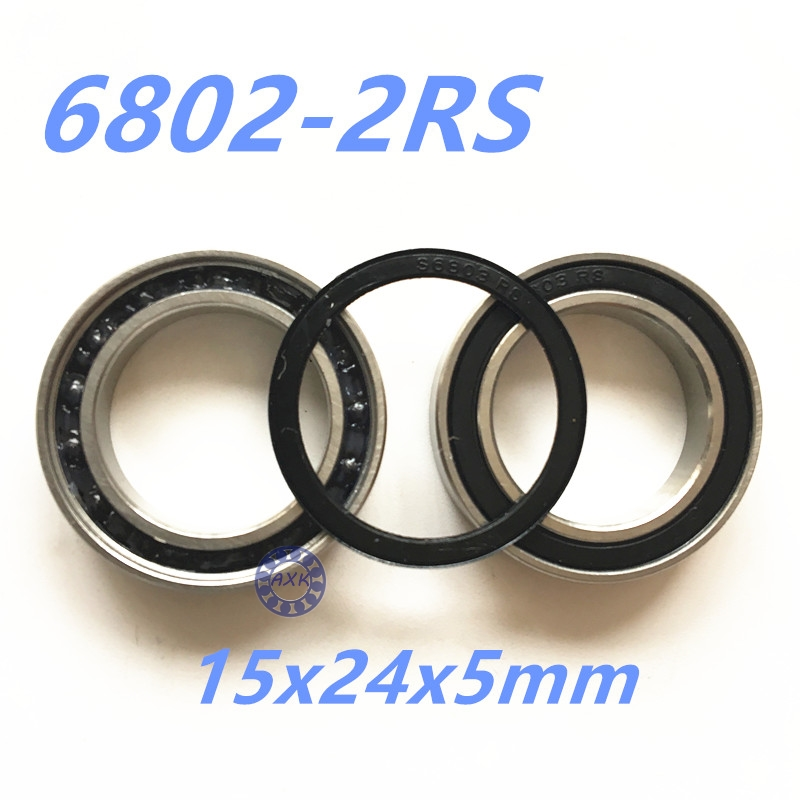 2Pcs 6802 2RS Si3N4 Ceramic Ball Bearing Rubber Sealed 61802 Bike Parts 15x24x5mm 1pc 6217 2rs 6217rs rubber sealed ball bearing 85 x 150 x 28mm
