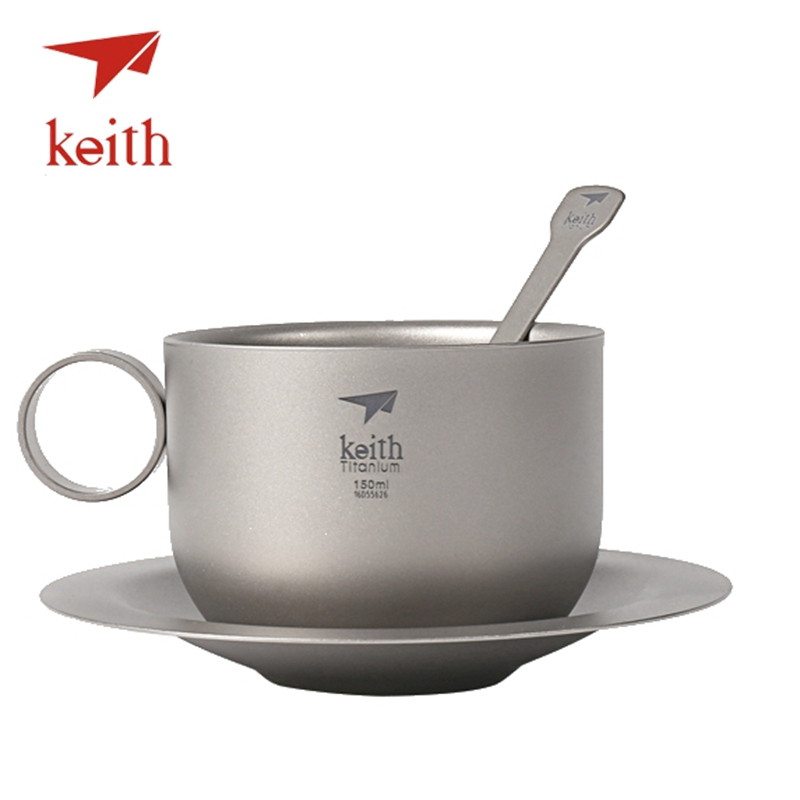 Keith Titanium 3 In 1 Coffee Cup Sets Outdoor Camping Travel Tableware Tea Water Mug With Spoon Plate Set Hiking Picnic Utensils  цены