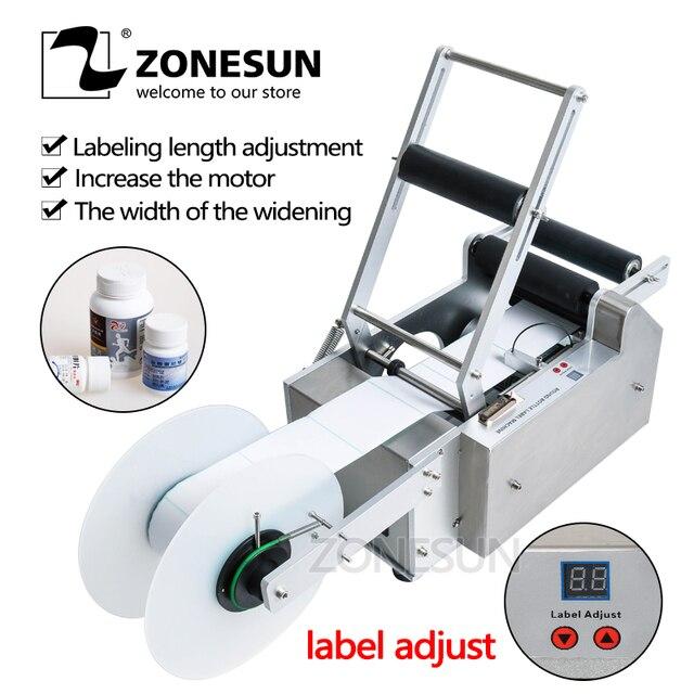 ZONESUN LT-50/50T  Round Plastic bottle label machine stick mark machine for soft drink cans 15-120mm
