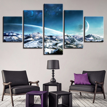 Posters Framework Art Printing 5 Pieces Abstract Earth Planet Starry Sky Landscape Modular Canvas Paintings Decor Wall Pictures