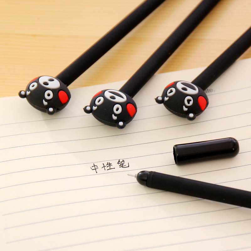 Japanese And Korean Creative Stationery Water Pen Cartoon Cute Black Bear Neutral Pen Students Black Office Signature Pen