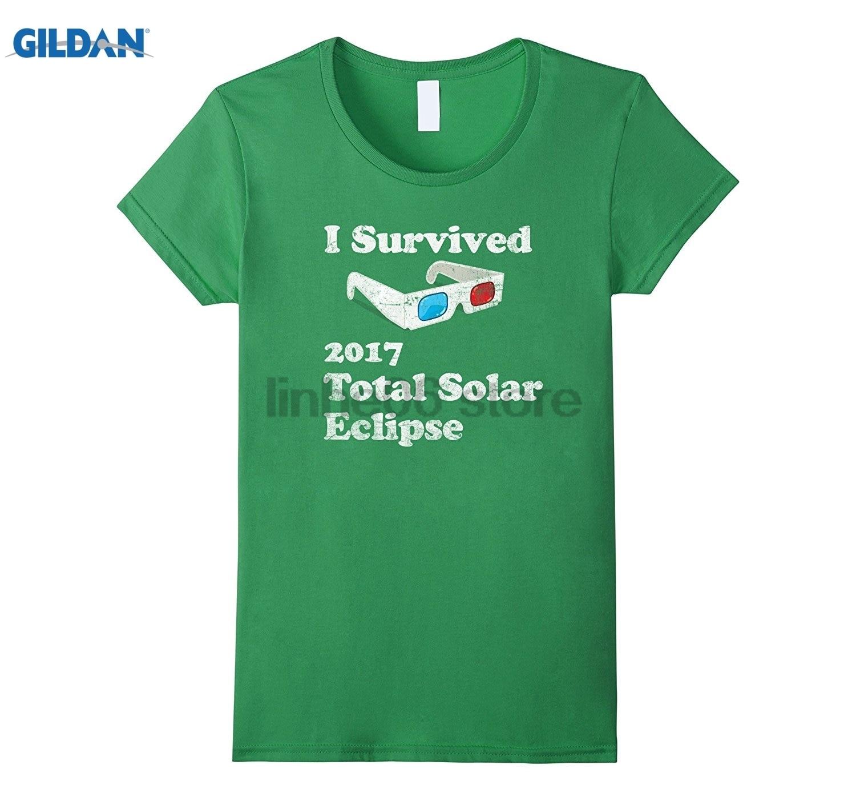GILDAN I Survived 2017 Total Solar Eclipse T-Shirt Classic Round Neck Short-Sleeve T-Shirt Top Fashion T-Shirt Top