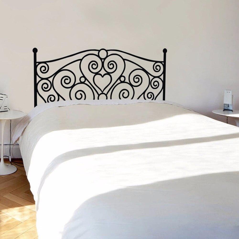 Morden Shabby Chic Headboard Wall Decal Vinyl Art Sticker Bed Wall Decal for King Bed Headboard Bedroom Home Decoration