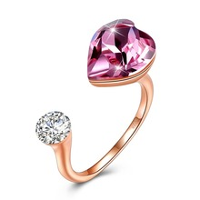 S925 Silver Party Rings With Brand Crystal Fine Rings Jewelry 925 Sterling Silver Rings Women Blue Pink Heart Lady Finger Wears