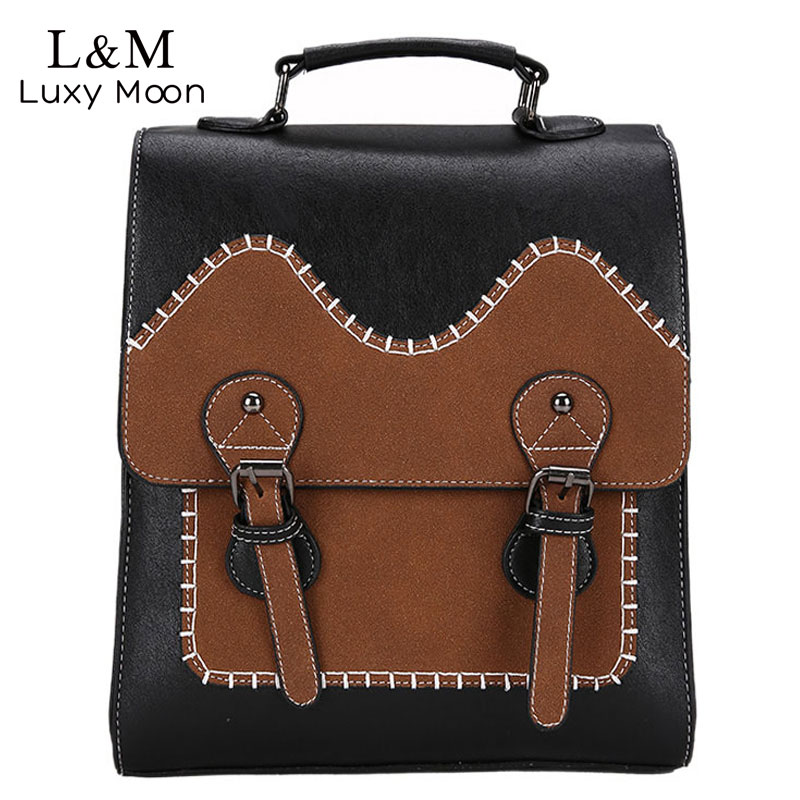 School Backpacks For Women Retro Fashion Female Backpack High-quality Pu Leather Portable Shoulder Bag Travel Bag Xa166h