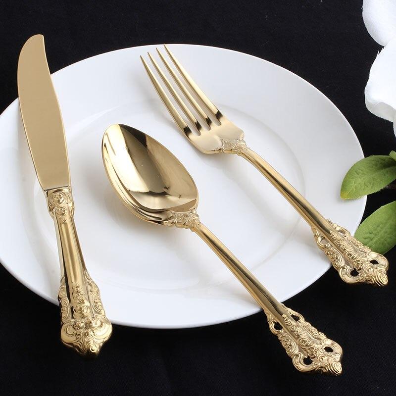 Acier inoxydable Western fourchette cuillère café dessert cuillère fruits fourchette doré couverts set Steak couteaux